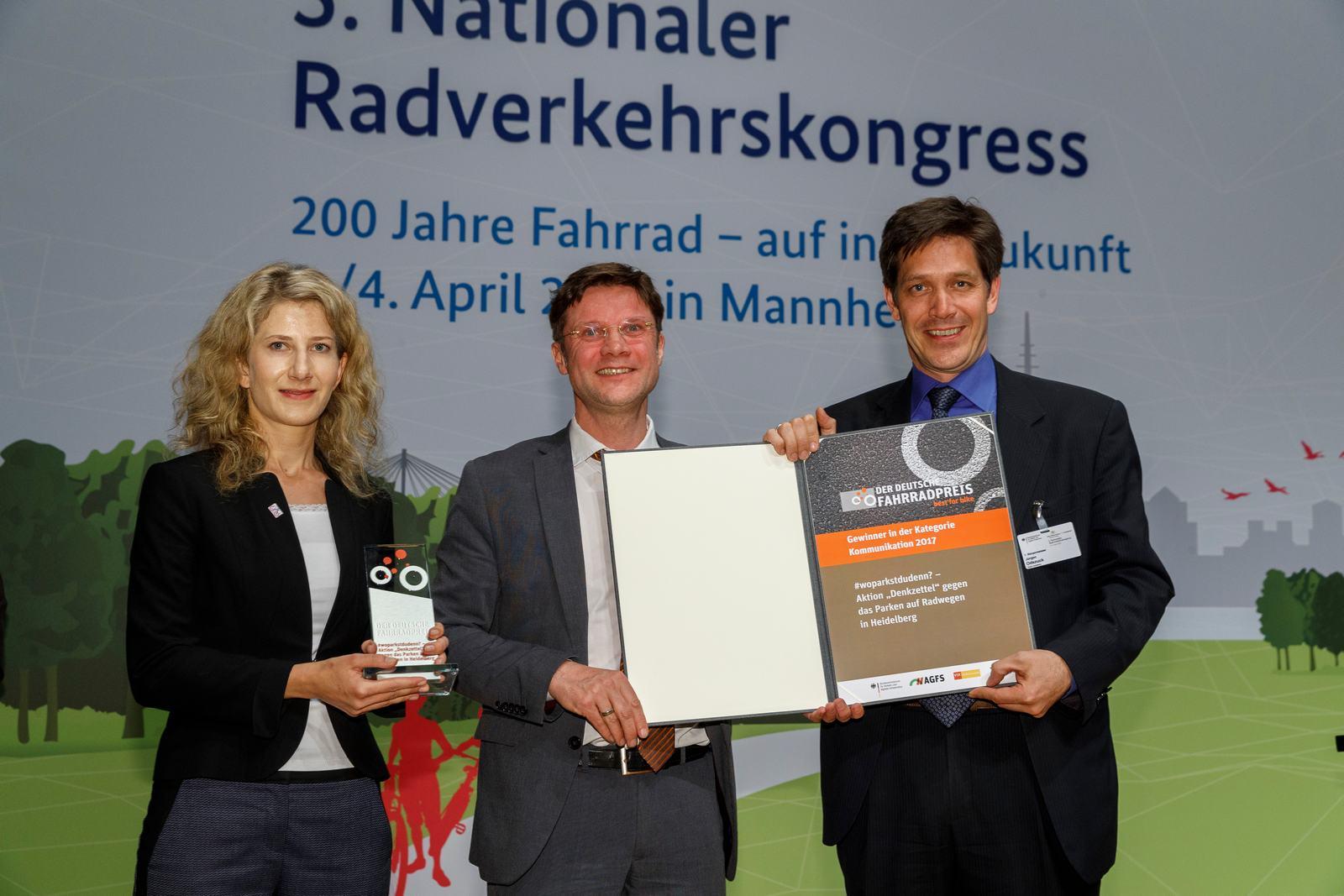 Gewinner der Kategorie Kommunikation des 5. Nationalen Radverkehrskongress 2017.