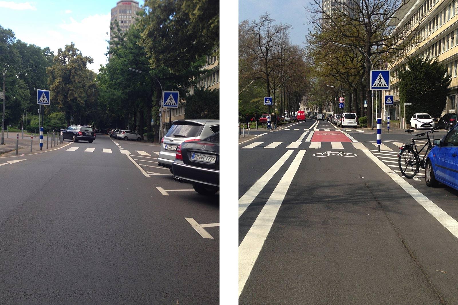 Ein vorher nachher Bild einer Straße. Nun ist dort eine breite Radspur.