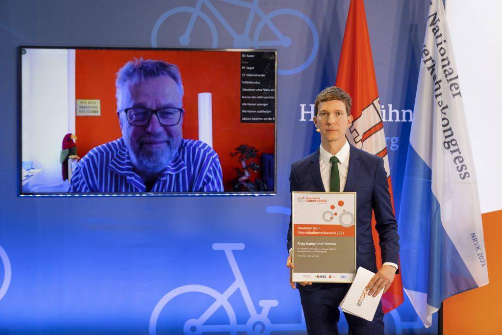 Michael Glotz-Richter belegt den 1. Platz mit dem Fahrradmodellquartier Bremen beim Fahrradkulturwettbewerb.
